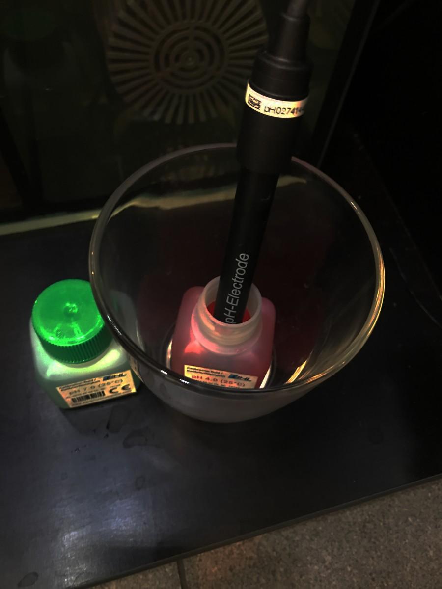 Sensor in Kalibrierlösung